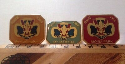 3 RAVE (Rangers And Venturers) Camping Activity Metal Belt Badges From The 1990s