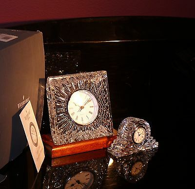 Reduced Waterford Ireland Crystal Huge Olive  Mantle Clock + Mahogany Stand