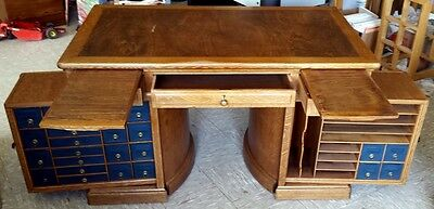 Antique Original Wooton Rotary Patent Flat Top Desk Oak? Ck Ship Info Descript