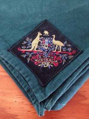 Vintage Rare Australian Contingent Scarf With Coat Of Arms Scout Badge