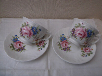 2 Floral Porcelain / china cups and saucers