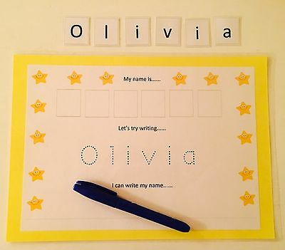 Personalised Learn To Write & Spell Your Name Card & Dry Wipe Pen EYFS SEN