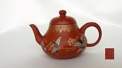 Chinese Yixing Zisha Antique Vintage Style Clay Pottery Teapot Beautiful Painted