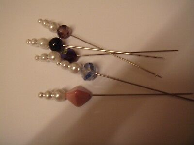 Crystal pearl hat pins set of 5 ,hats craft work decoration 9cm long