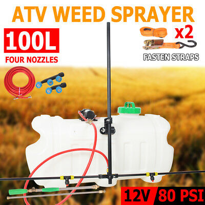 100L ATV Garden Weed Sprayer Sopt Boom 4 Nozzle Unit Chemical Farm Water Pump AU
