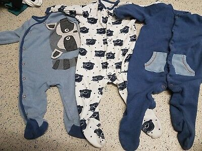 3x next 6-9 months boys sleepsuits