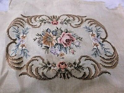 antique vintage HAND MADE NEEDLEPOINT CHAIR COVER ROSES FLOWERS