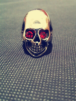 316L Stainless Steel Men's Cool Skull Head Biker  Crystal Ring Punk New Jewelry
