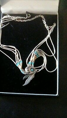 Silver-Turquoise And Bone South American Indian Pendant Necklace