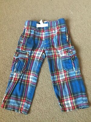 Mini Boden Boys Brushed Cotton tartan Cargo Trousers Age 2 Yrs