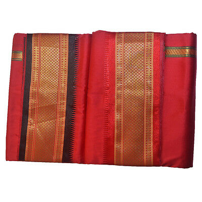 Red Dhoti With Shawl In Pure Silk With Golden Border Dual