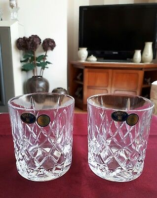 Bohemian Crystal Pair Of Whisky Tmblers- New
