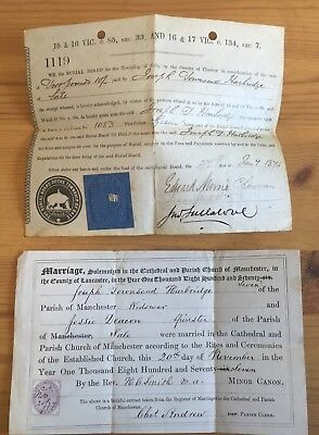 Victorian Certificate To Harbridge 1877 Burial Plot Sale & Manchester Stamp