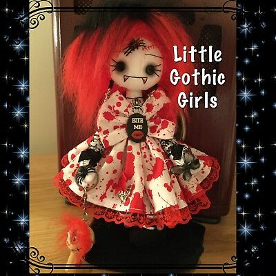 """Takia the 8"""" Gothic Vampire hand made rag doll by Little Gothic Girls"""