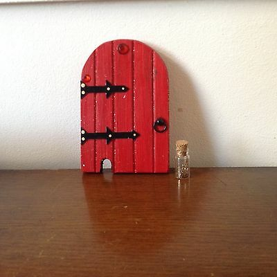 Fairy door - handmade - wooden - fairy garden  - red with mouse hole