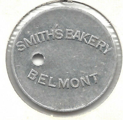 Smith's Bakery Belmont, Good For Half Loaf, Round, Holed, Aluminium Bread Token