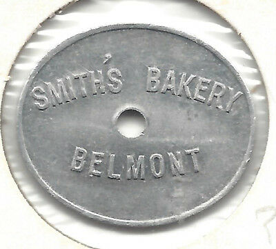 Smith's Bakery Belmont Good For One Loaf Oval holed UPSET Bread Token