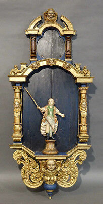 XL French 18thc Religious Wood carved polychrome Chapel saint putti Saint statue