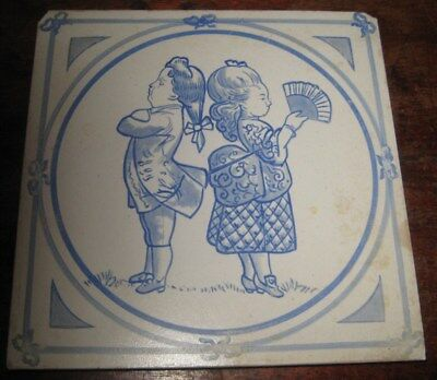 Unusual Copeland Children Tile Tofts Playing No 1 Circ 1880S Comical