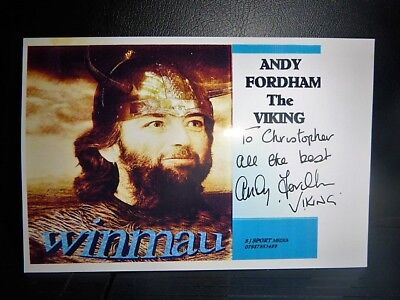 Andy Fordham ( The Viking ) Original Hand Signed 6 x 4 Photo card