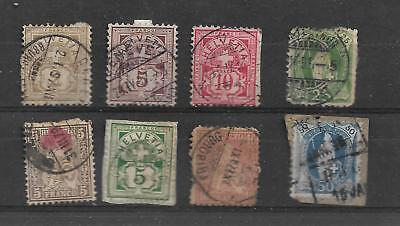 Switzerland Eight Early Used Stamps My Ref 75