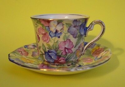 "RARE Royal Winton SWEET PEA DEMITASSE Chintz  England CUP 2.5"" Wide x 2"" Tall"