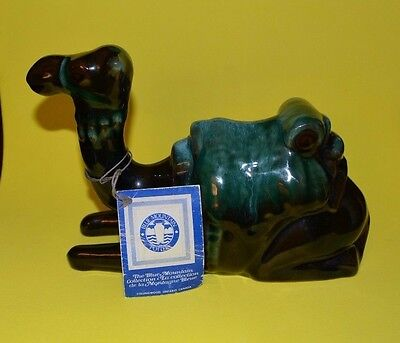 "Vintage Rare Blue Mountain Pottery - 8 "" Green Glaze Sitting Camel - With Tag"