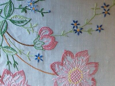 Vintage hand embroidered tablecloth with Forget-me-nots