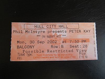 Peter Kay Ticket 30/9/02 - Hull City Hall