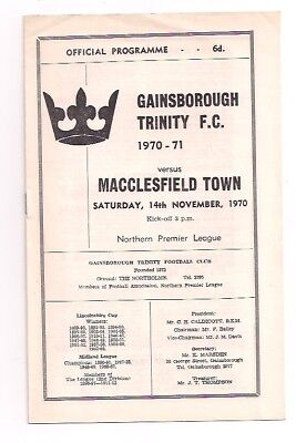 Gainsborough Trinity V Macclesfield Town-Northern Premier-Programme-1970