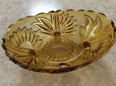 Antique Amber Glass Bowl