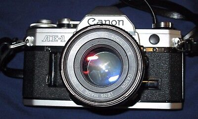Canon AE-1 35mm film SLR camera WITH FD 50MM LENS MADE IN JAPAN