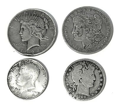 Exact Coins: 2 Silver Dollars & 2 Halves @ 90% Silver * Please See Pix ! Bargain