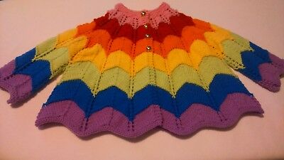 Hand Knit Rainbow  Coloured Pixie Cardigan Suitable For Approx 12/18 Months
