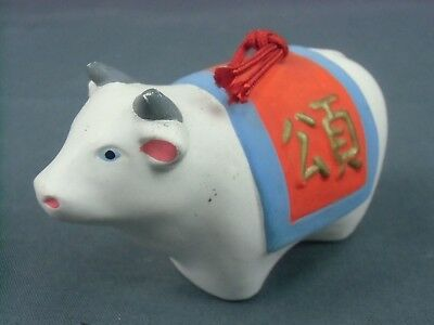 DR53 Japanese Clay Bell Vintage Hand Painted Cow Lucky Zodiac Ceramic Dorei