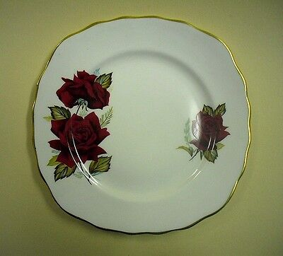 Vintage Royal Vale Red Rose Pattern SIDE PLATE with gilt edging, VGC Pattern7978