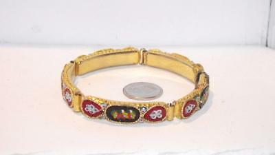 Vintage Micro Mosaic gold plated Bracelet.  #257