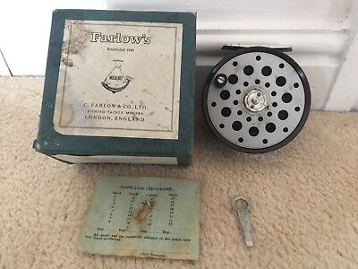 "Vintage Farlow London Python Alloy 4""  Wide Drum Salmon Fly Fishing Reel Boxed"