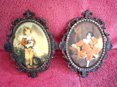 Vintage Pair  Oval  Silk Print  Pictures  In  Brass  Ornate Frame  Made In Italy