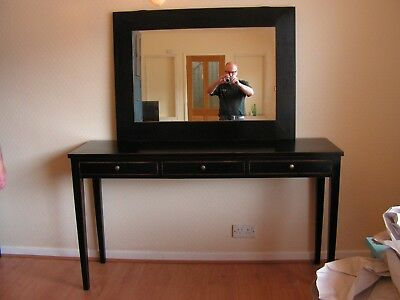 Hand Made Chinese Black Lacquered Three Draw Console Table With Over Mirror
