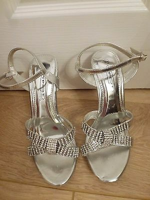 Ladies Silver Jewelled Sandals