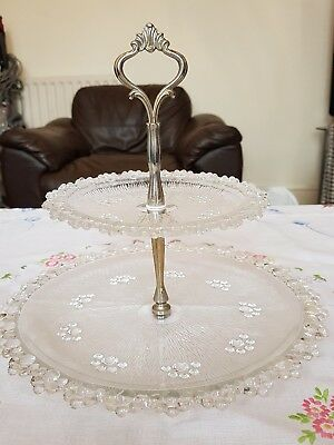 Vintage pressed glass two tier cake stand ideal for weddings or cake tea shop
