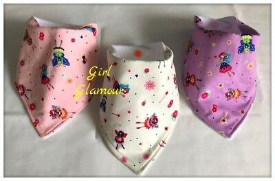 PACK 3 - Baby Bandana Dribble Bibs Bib - Princes Fairy Fabric - Headband Dress