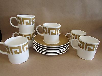 Set Of Susie Cooper Keystone Pattern Old Gold C2134 Coffee Can Cups And Saucers