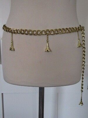 Vintage 1990's Gold Tone Metal Chain Link Belt With Eiffel Tower Charms