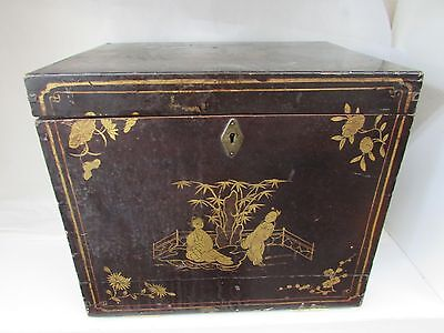 Antique Japanese Painted Lacquer Box