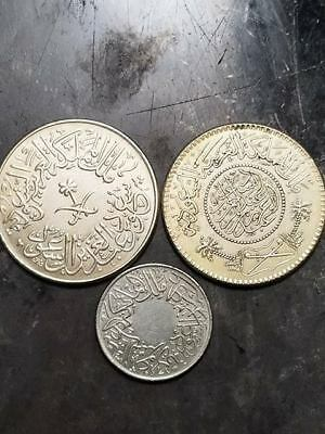 Saudi 1376 AH 4 Piaster, 1356 AH 1/4 Piaster, and 1374 1 Riyal (set of 3 coins)