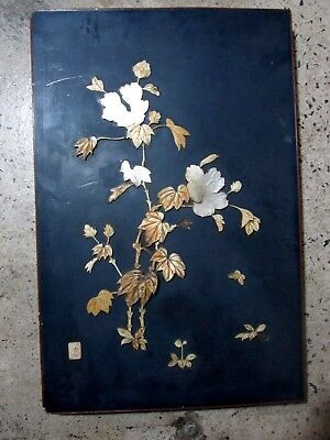 Original Antique Inlaid Bone Mother Pearl Japanese Picture Panel Artist Signed