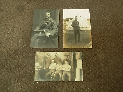 3 X Ww1 British Military Soldiers Real Photo Postcards Cap Badges To Identify