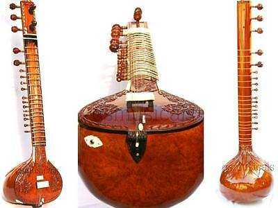 Sitar Standard Hand Carved With Fibreglass Case Standard Gsm006
